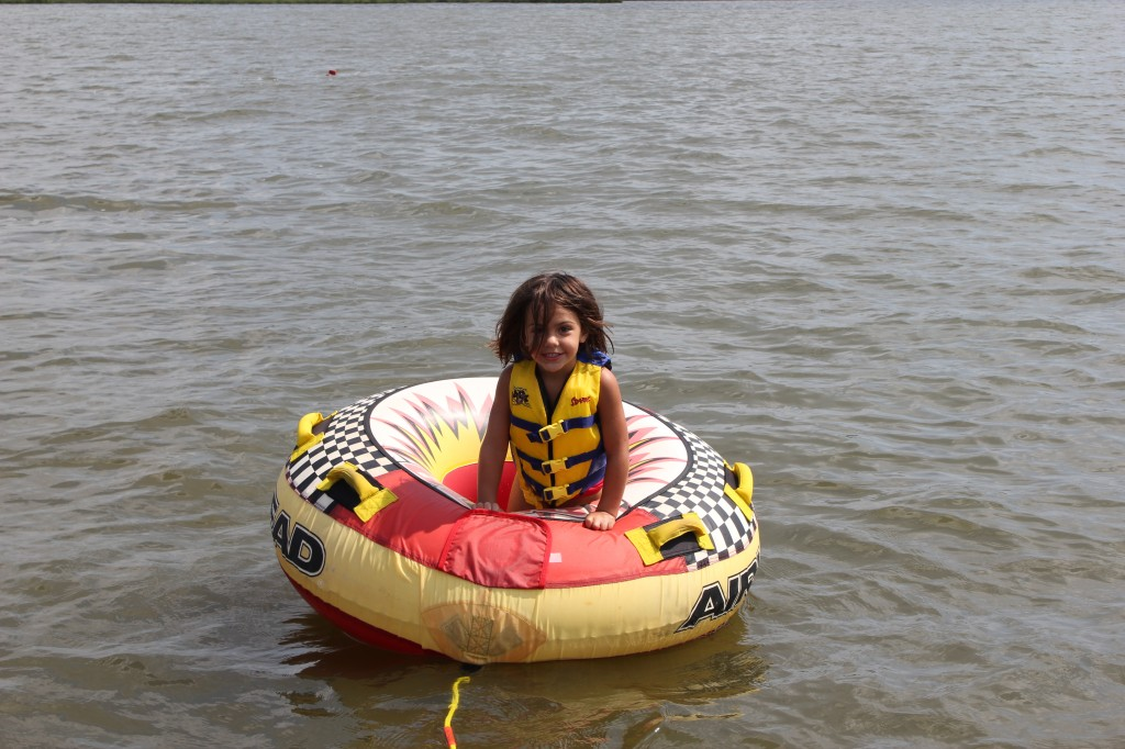 No tubing for her, but she wanted to take a turn sitting in it.